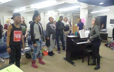 Concert Choir students participate in daily warm ups led by director Kristine Gage.