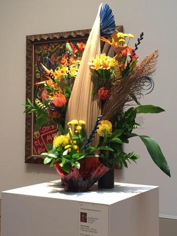 "Joan Miro's painting, ""Standing Nude."" recreated using various plants by, Alice Koritta."