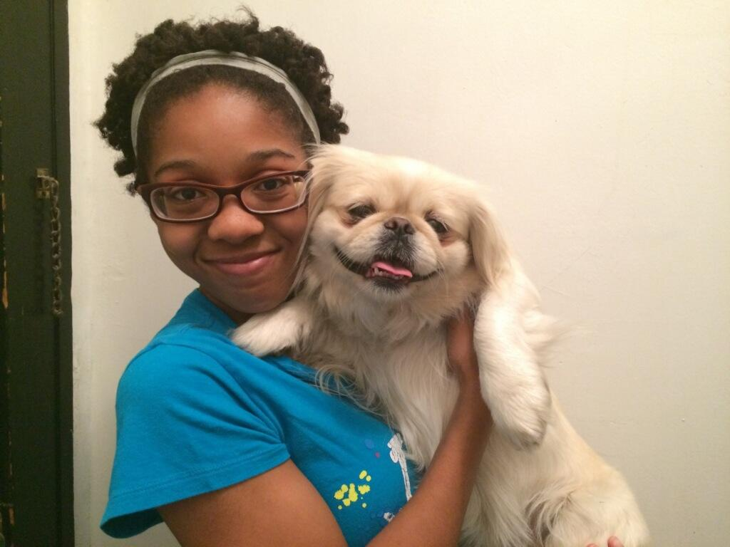 Patra Patton poses with new dog Lola.