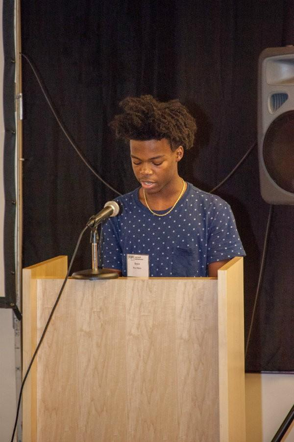 Sophomore Royce Martin delivers speech on police brutality and black on black crime. He explains how he has not personally been affected, but it has become a common issue.