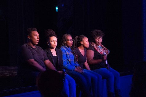 "Aca-Soul takes the stage stage first singing ""Want You Back"" by The Jackson 5. Aca-Soul is a student led A Cappella group which consists of Randy Thompson, 12th, JeAnna Peterson, 11th, Demarnesha Jones 11th, Rachelle Martin, 12th, and Shaquana Williams, 11th."
