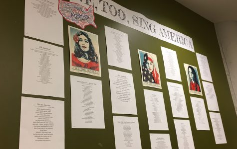 Sixteen poems written by freshmen students hang on the fourth floor. Each poem is used to express to readers what it mean to be an American.