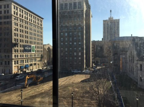 View from the fourth floor of Arts Academy Plaza construction site. The Plaza is scheduled to be completed by Spring of 2017.