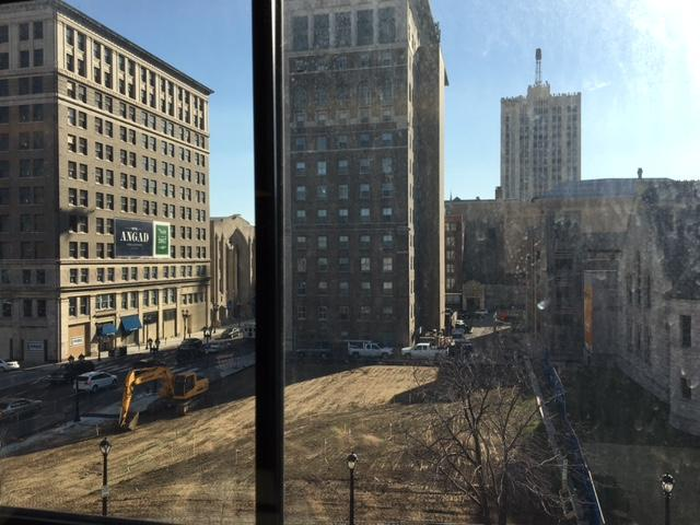 View+from+the+fourth+floor+of+Arts+Academy+Plaza+construction+site.+The+Plaza+is+scheduled+to+be+completed+by+Spring+of+2017.