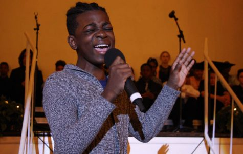 """Devontae Graham, 8th grade, performs """"Grandma's hands."""" Graham says she chose the song because it was sung by slaves when their grandmothers passed away."""