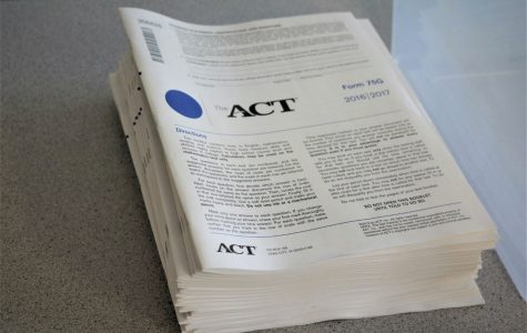 A stack of ACT test materials stacked on a proctors desk, moments before students began testing on April 19th.