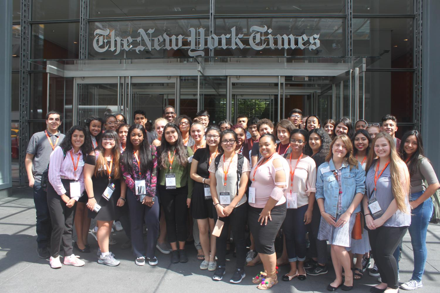 The Princeton Summer Journalism class of 2017 poses for a group photo outside of The New York Times headquarters. Students had the opportunity to tour the building, as well as ask reporters about their experience in the field.