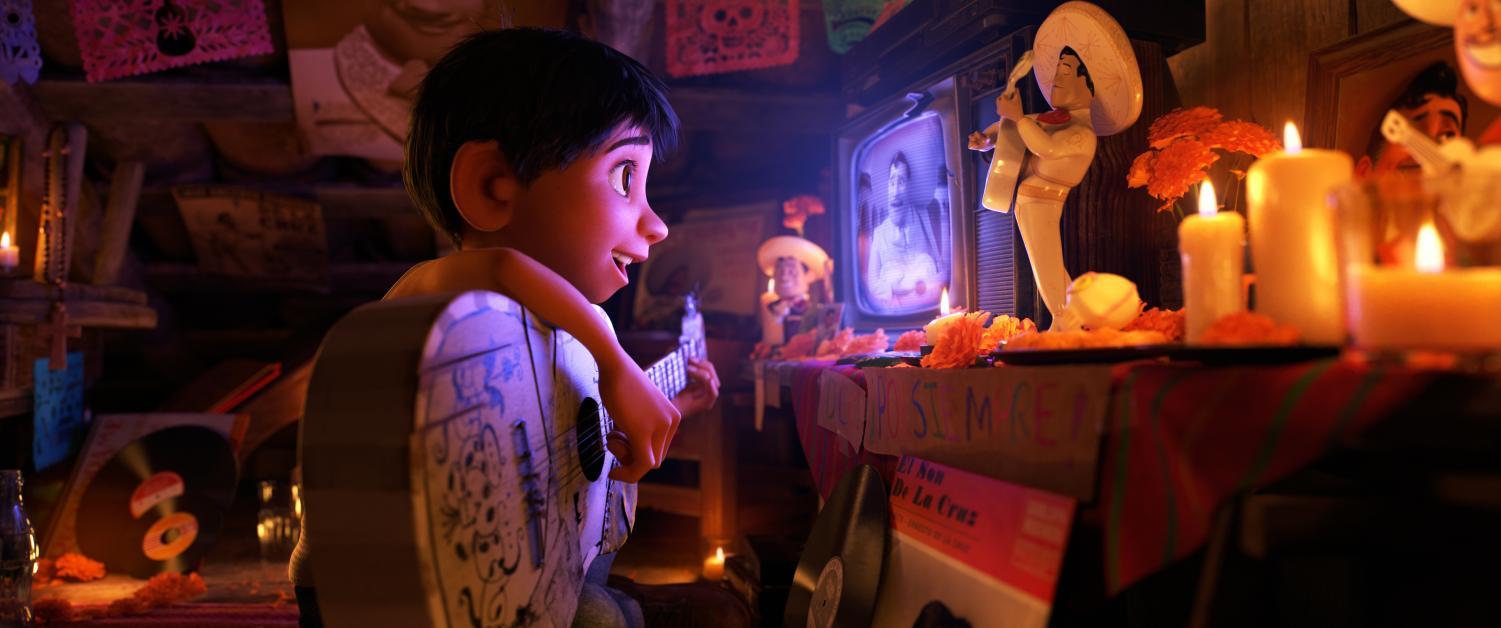 Miguel with his guitar in Coco. Image used with permission.