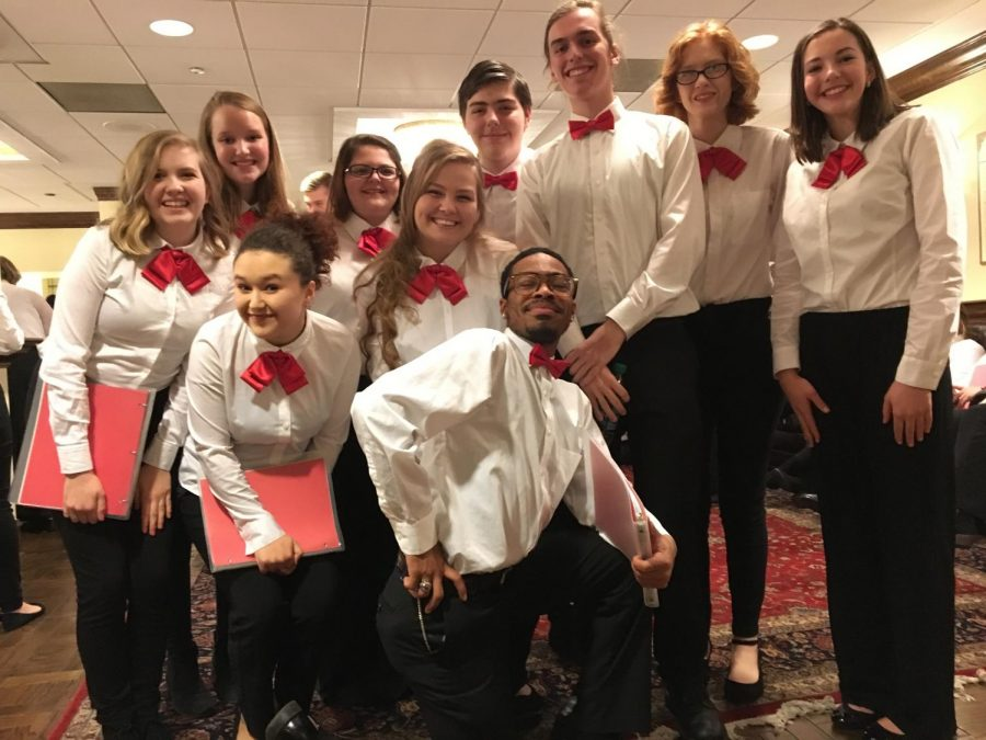 A group of GCAA students pose for a picture in the Whittaker room of Powell Hall. During intermission, singers talked and got to know  others from schools across the St. Louis/Illinois area.