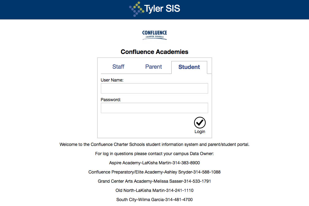 Screenshot of the Tyler SIS login screen.