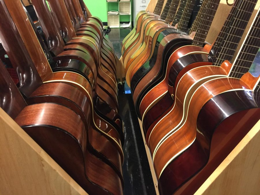 Guitars were moved into Raynard Brown's choir room after the flood. Classical guitars were not damaged, with the exception of one.