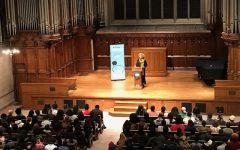 Political activist and author Angela Davis speaks at Washington University's Graham Chapel