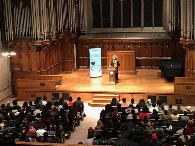 Political activist and author Angela Davis speaks at Washington University's Graham Chapel