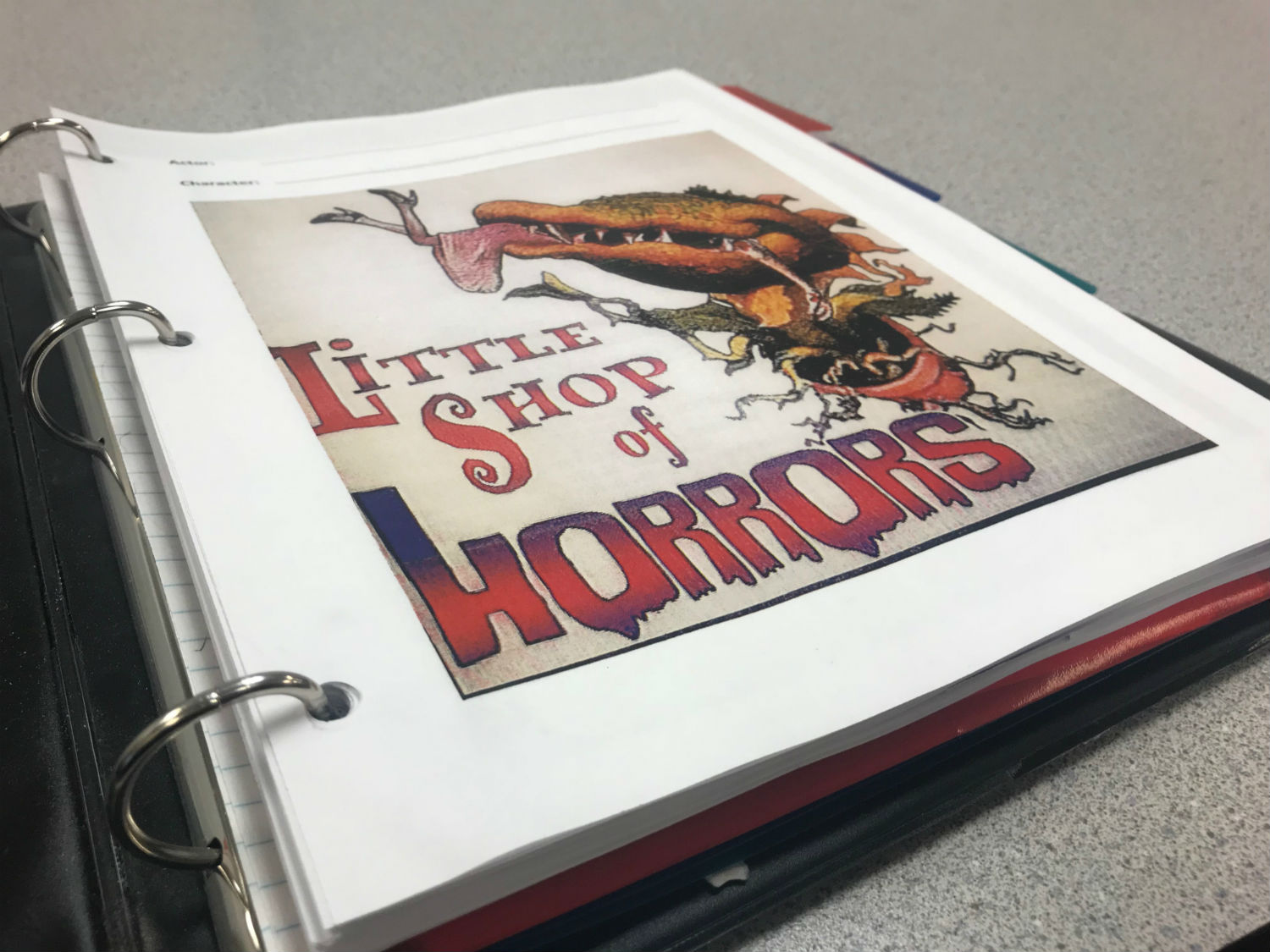 Front cover of the Little Shop of Horrors script.