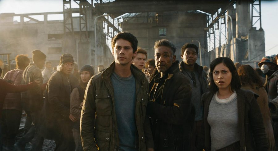 Thomas (Dylan O'Brien), Newt (Thomas Brodie-Sangster), Cranks leader Jorge (Giancarlo Esposito), Frypan (Dexter Darden) and Brenda (Rosa Salazar)