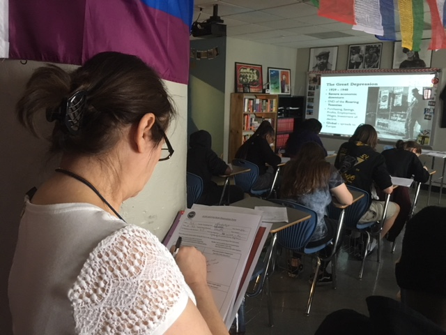 Diana Rudolph middle school teacher, quietly  took notes on high school history teacher, Evan Smiths incorporative teaching style; While students followed along in Smiths lesson taking notes and shouting out opinions.