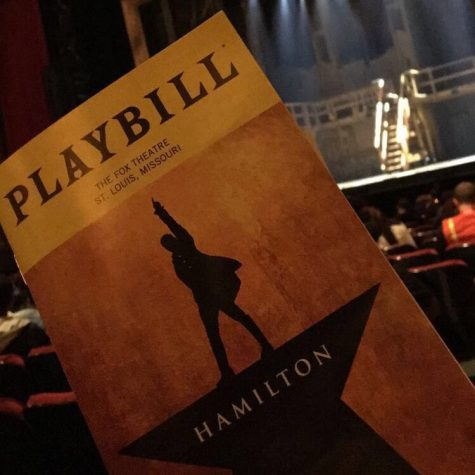 The official Playbill for Hamilton by Lin-Manuel Miranda. Hamilton is a rapped-through musical that tells the life story of Founding Father Alexander Hamilton.