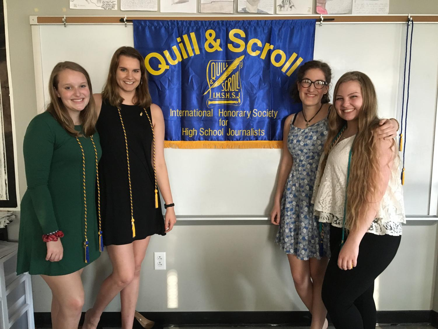 The editing team at the Quill and Scroll induction ceremony, the national honors society for high school journalists.