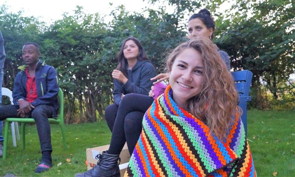 This picture was taken at one of my evening bonfires. The other students pictured were from Ghana, Mexico, and Italy.