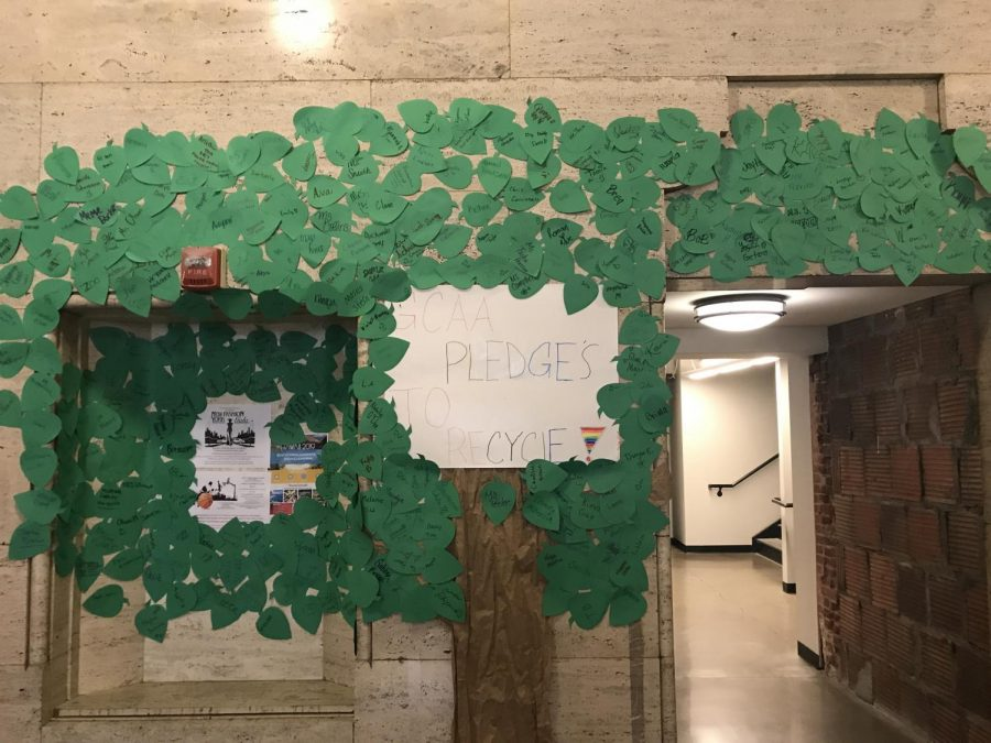 A+decorative+tree+outside+the+cafeteria%2C+made+of+signed+pledges+to+recycle+by+students+of+GCAA.
