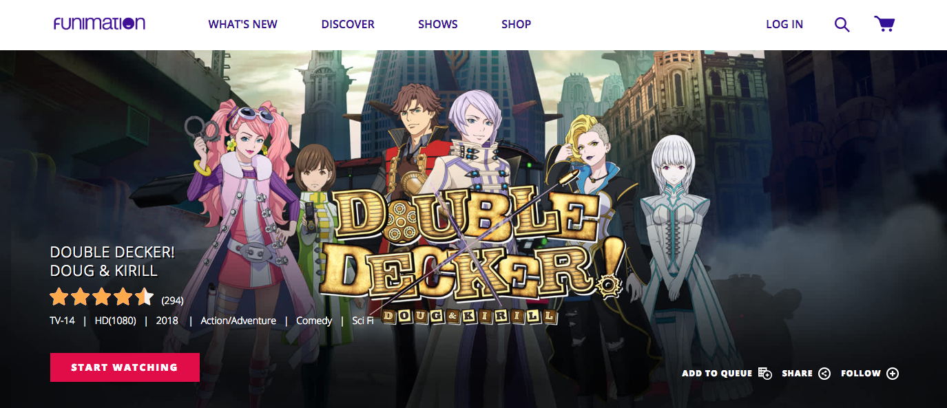 A screenshot of the cover of Double Decker on Funimation. The two main characters are centered, Doug on the left, and Kirill on the right.
