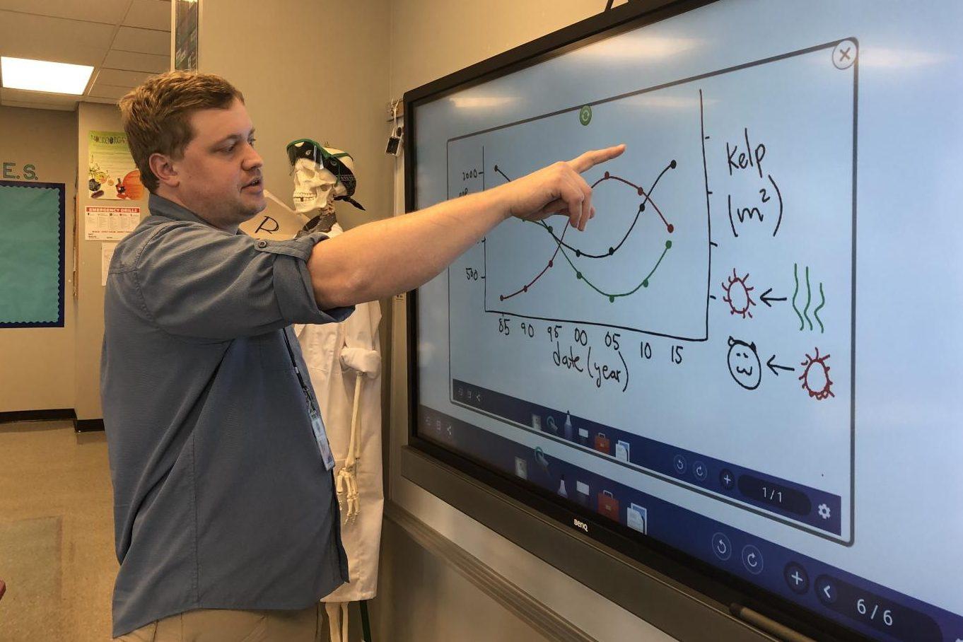 High school science teacher Bradford Buck demonstrates how he uses the BenQ Board in his classroom.