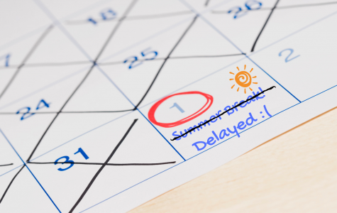 "PHOTO ILLUSTRATION: A calendar with the phrase ""Summer Break!"" crossed out to represent the extended school year. The last day of school is now Thursday, May 30."