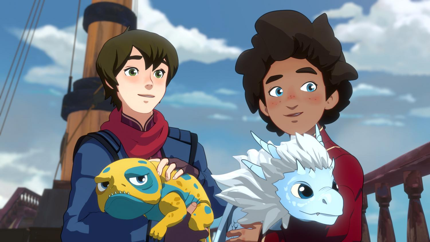 Callum holding Bait (left) and Ezran holding Zym (right) in Netflix's