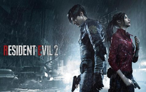 Leon S. Kennedy (left) and Claire Redfield (right) featured on a promotional poster for