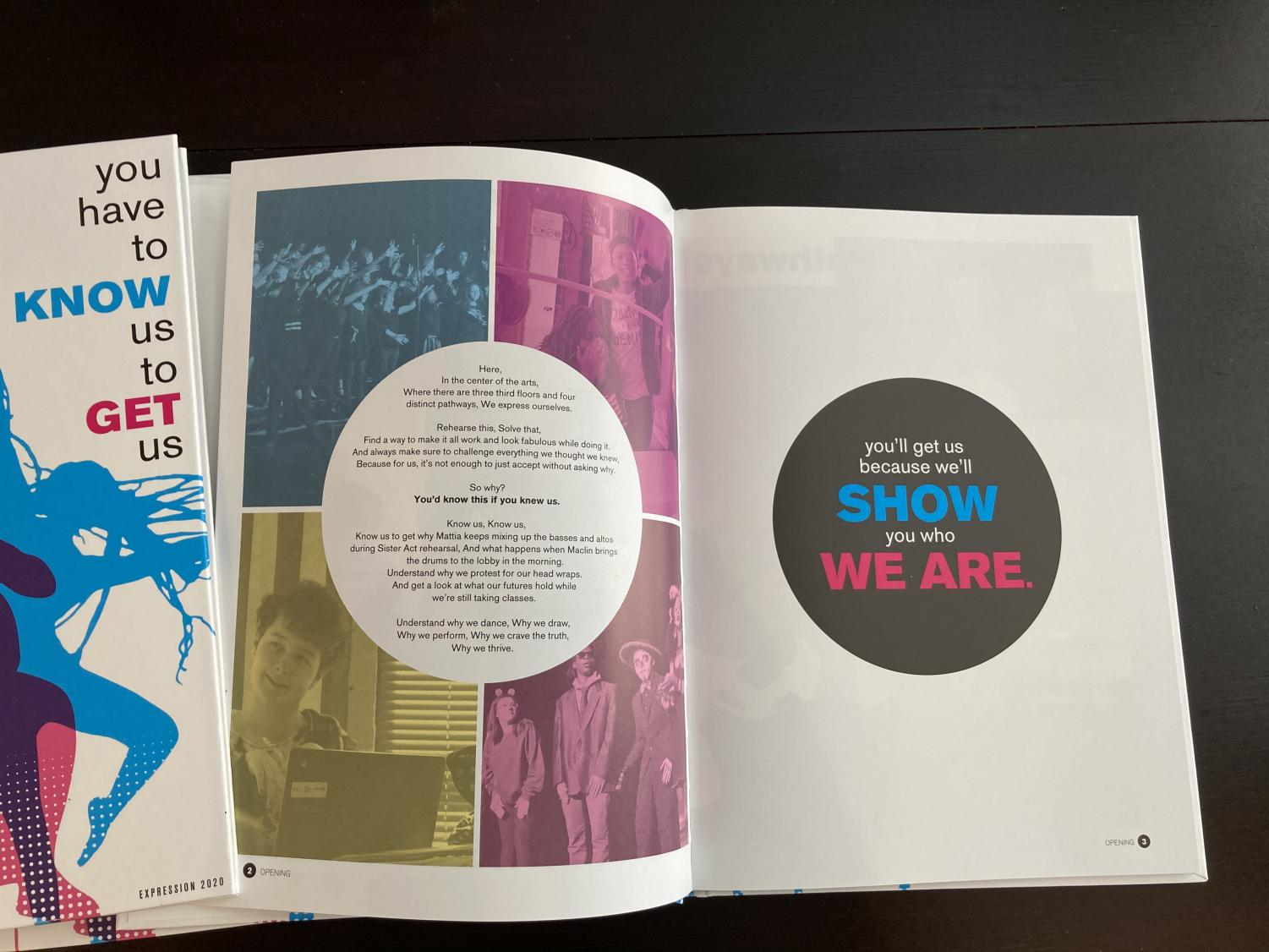 The opening spread of the 2020 Expression yearbook.